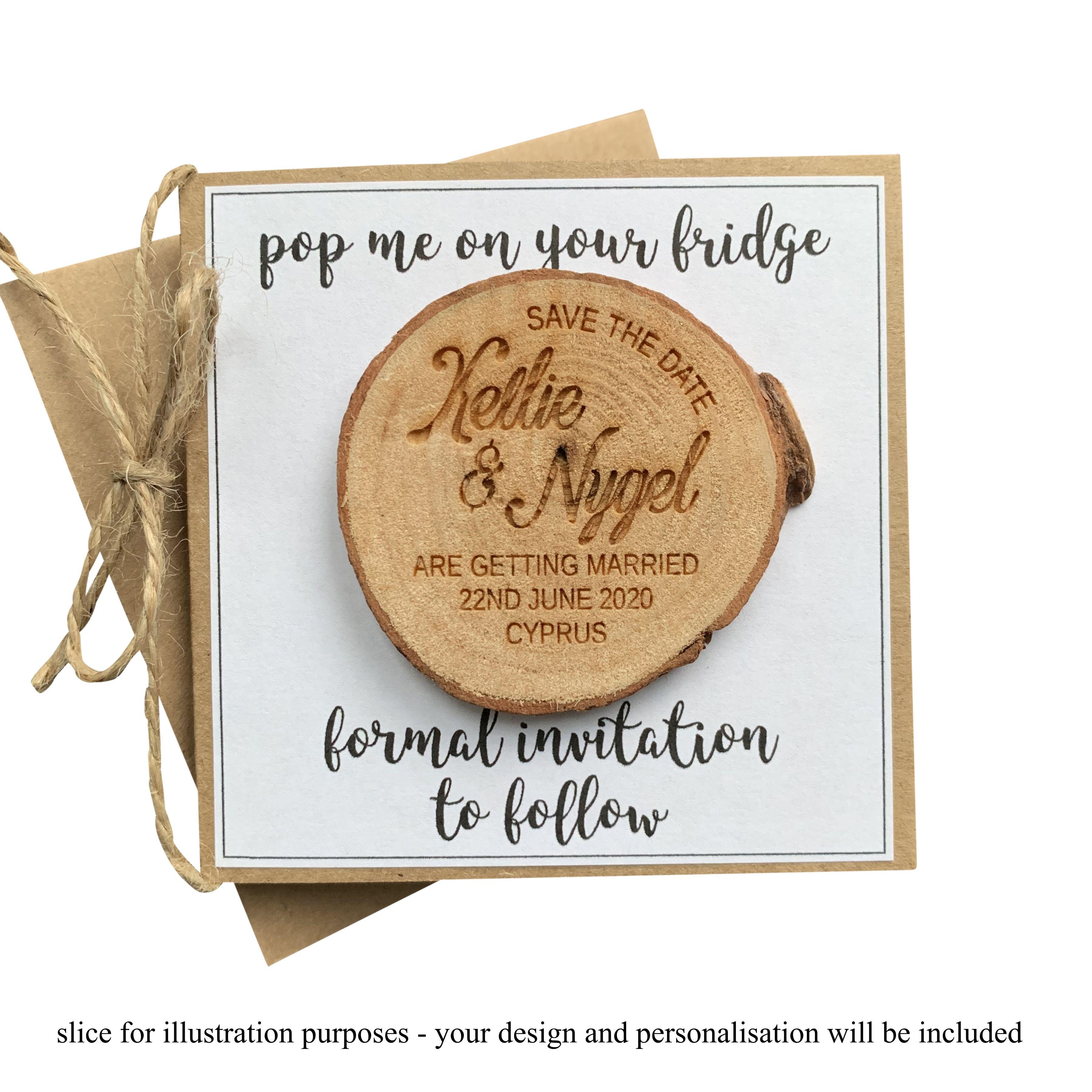 Engraved Rustic Save The Date Personalised Log Slice Design 6 Jajo Uk