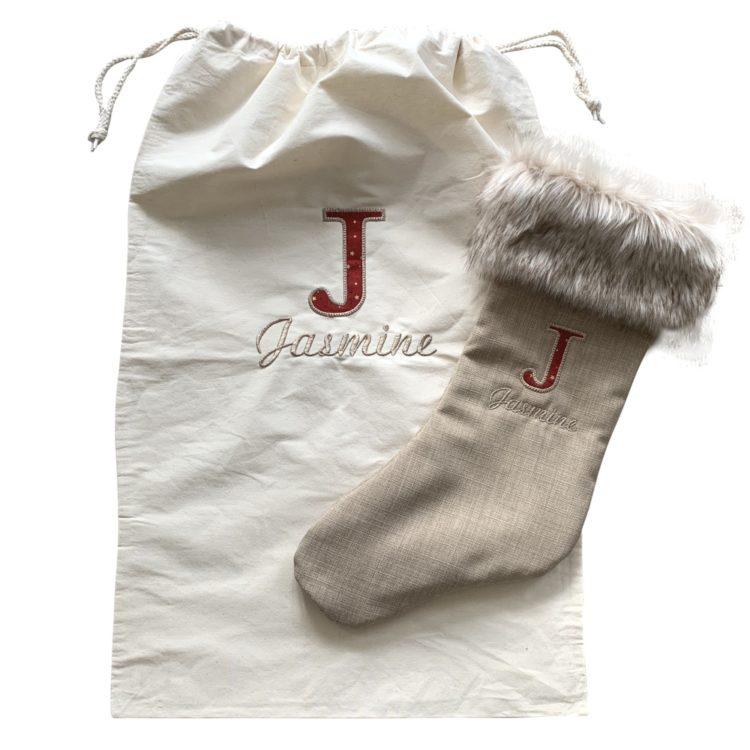 Jajo Canvas applique christmas sack JCACS19 sack and stocking