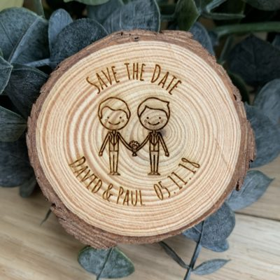 Jajo male couple save the date log slice JSTDMrMrC18
