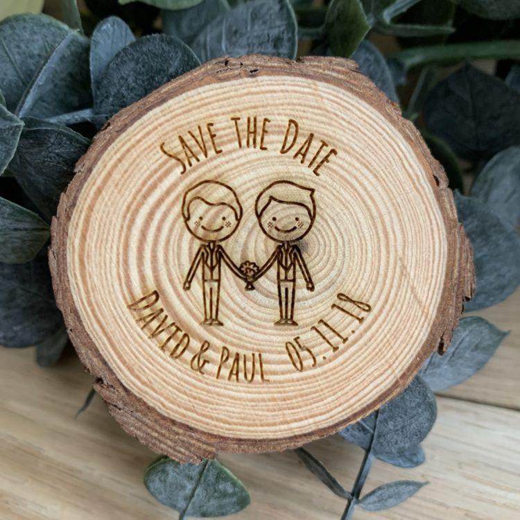 Jajo male couple save the date log slice JSTDMrMrC18