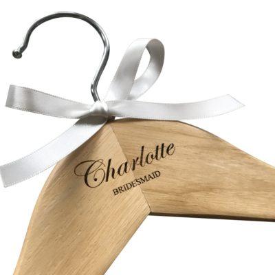 Jajo script font personalised wedding hanger JSFWH19