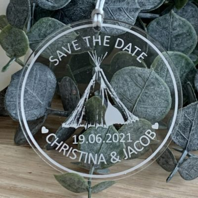 Jajo acrylic save the date teepee 2 JT2ASTD20 close