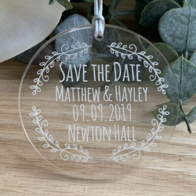 Jajo acrylic save the date wreath design JWASTD20