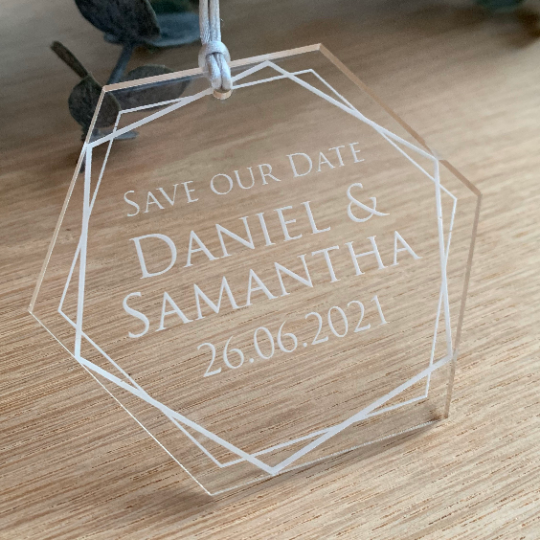 Jajo clear hexagon save the date JHASTD20