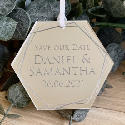 Jajo hexagon mirrror acrylic save the date JMHASTD20