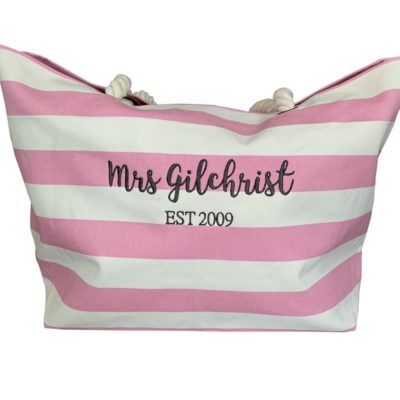 Jajo pink stripe beach bag JPSB20 1