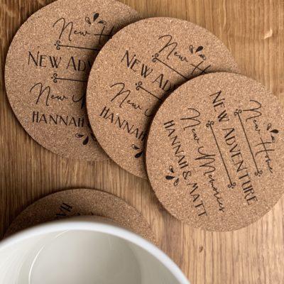 New Home Cork Coasters
